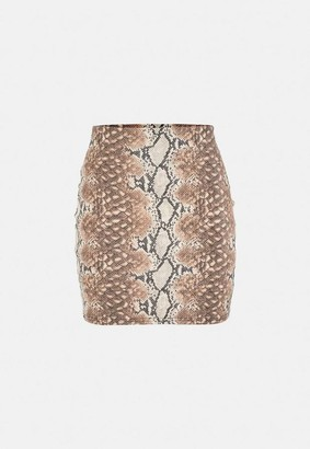 Missguided Brown Snake Print Faux Leather Mini Skirt