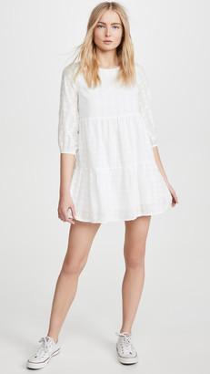 Line & Dot Embroidered Babydoll Dress