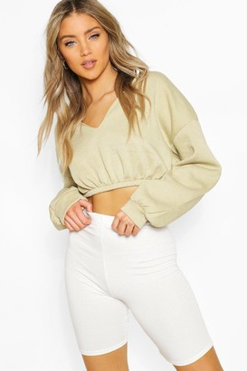 boohoo V Neck Crop Sweater