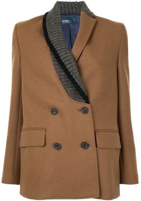 Kolor Ribbed Lapel Double-Breasted Blazer
