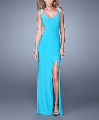 La Femme Women's Special Occasion Dresses Aquamarine - Aquamarine Rhinestone-Shoulder Side-Slit V-Neck Gown - Women