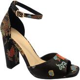 Wild Diva Black Floral Ankle-Strap Juliana Peep-Toe Pump