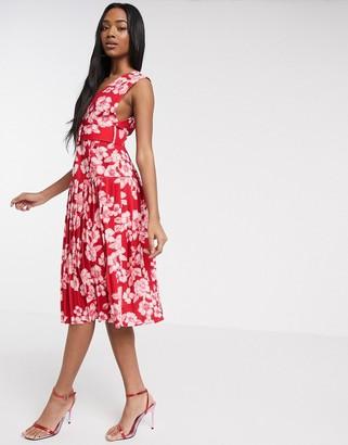 Asos DESIGN floral printed self belt midi dress