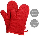 Aicok Oven Gloves Non-Slip Kitchen Oven Mitts Heat Resistant Cooking Gloves for Cooking, Baking, Barbecue Potholder, Red, 1 Pair