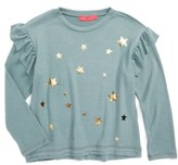 Menu Girl's Star Print Ruffle Sweatshirt