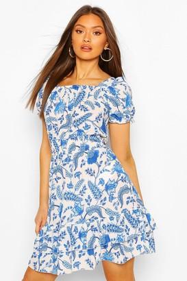 boohoo Floral Square NeckShirred Skater Dress