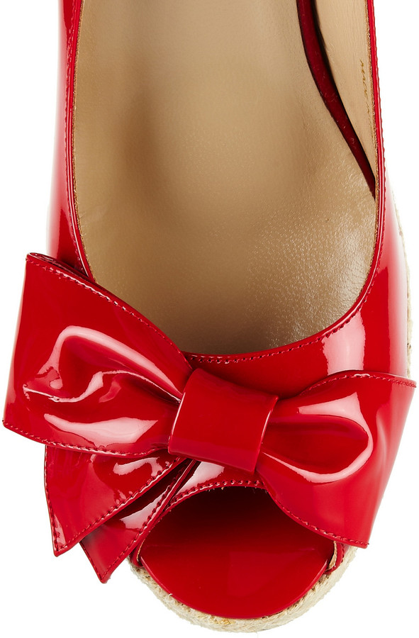 Valentino Mena patent-leather espadrille wedge slingbacks