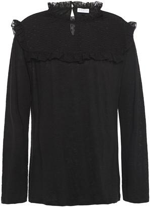 Claudie Pierlot Fil Coupe-paneled Linen-jersey Top