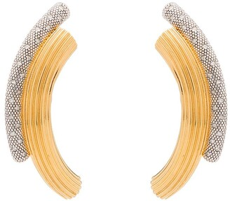 Panconesi Curved Crystal Embellished Earrings
