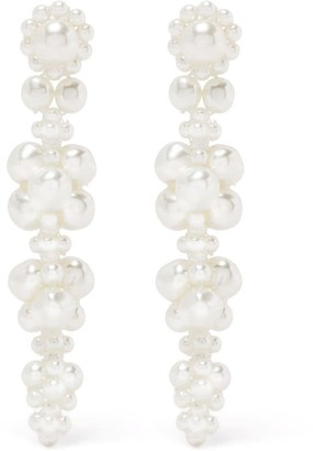 Simone Rocha Floral Pearl Drop Earrings