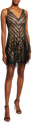 Naeem Khan Feathered V-Neck Dress