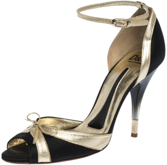 Dolce & Gabbana Black/Gold Satin And Leather Embellished Bow Ankle Strap Sandals Size 38