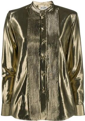 Saint Laurent Front Pleats Metallic Shirt