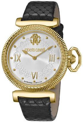 Roberto Cavalli By Franck Muller Women Swiss Quartz Black Calfskin Leather Strap White Dial Watch, 38mm