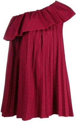 RED Valentino Off-The-Shoulder Gingham Mini Smock Dress