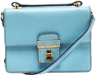 Dolce & Gabbana Light Blue Leather Mini Rosalia Crossbody Bag