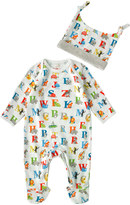 Cath Kidston Animal Alphabet Baby Sleepsuit And Hat Gift Set