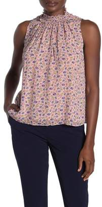 Rebecca Taylor Zelma Smocked Floral Silk Blend Top