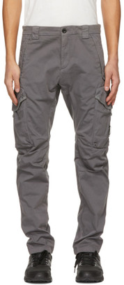 C.P. Company Grey Stretch Sateen Garment-Dyed Utility Cargo Pants