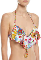 Luli Fama Cascading Push-Up Swim Top, Paisley