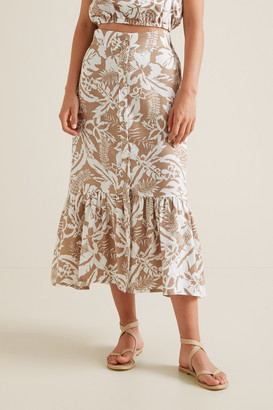 Seed Heritage Palm Print Button Skirt
