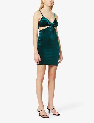 Topshop Twist-knot velvet mini dress