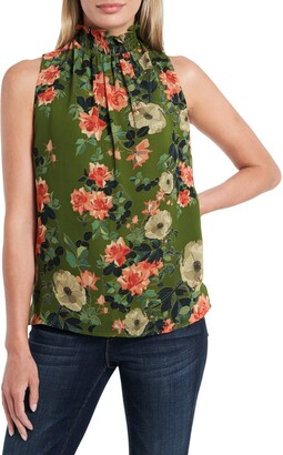 Vince Camuto Guilded Floral Ruffle Neck Sleeveless Top