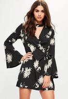 Missguided Black Floral Choker Neck Tie Side Dress, Black