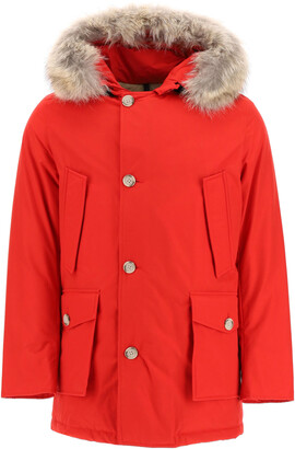 Woolrich ARCTIC PARKA WITH COYOTE FUR L Red Technical, Fur, Cotton