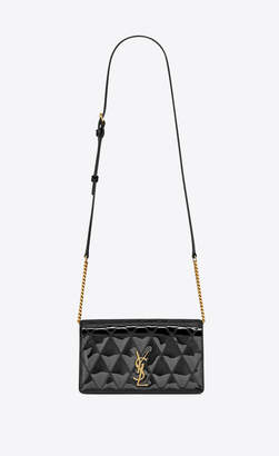 Saint Laurent Monogram Chain Bag Angie Chain Bag In Diamond-quilted Patent Leather Black Onesize