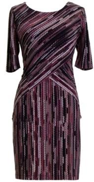 Connected Petite Printed 3/4-Sleeve Sheath Dress