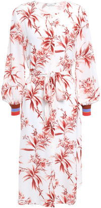 Joie Belted Floral-print Crepe De Chine Dress
