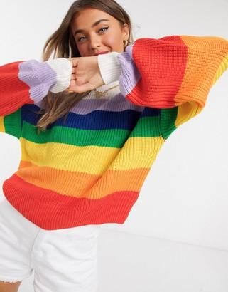 Monki Manda rainbow stripe knitted jumper in multi