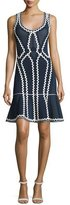 Herve Leger Zigzag-Trim Cocktail Dress, Black/White