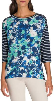 Olsen Utility Chic Mixed-Print Three-Quarter-Sleeve Tee