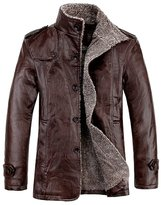 Zeroyoyo Men's Winter Jacket Faux Leather Coat Fur Fleece Overcoat