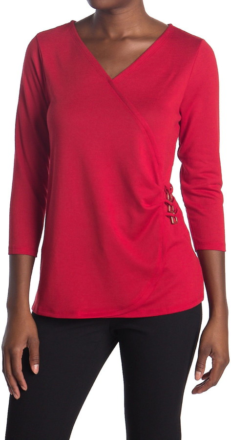 Love by Design Chase 3/4 Sleeve Faux Wrap Top