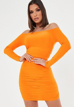 Missguided Ruched Long Sleeve Bardot Mini Dress