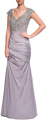 La Femme Beaded Lace Combo Gown
