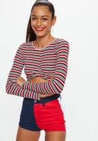Missguided Petite Red Mixed Stripe Wrap Crop Top