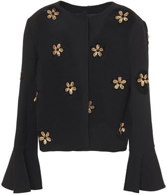 Oscar de la Renta Embellished Wool-blend Crepe Jacket