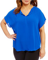 Gibson & Latimer Plus Short Sleeve V-Neck Blouse