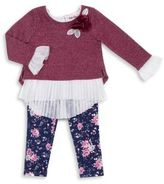 Little Lass Baby's Pleated Top and Floral Leggings Set