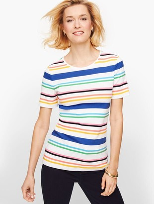 Talbots Cotton Crewneck Tee - Bay Stripe