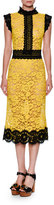 Dolce & Gabbana Two-Tone Floral Lace Cocktail Dress, Yellow/Black