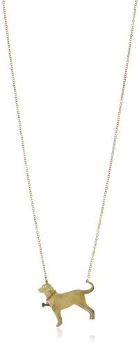 "Monserat De Lucca Brass Labrador with Bone Collar Necklace, 29.5"""