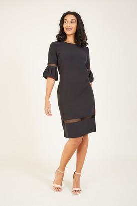 Yumi Black Frill Fitted Dress