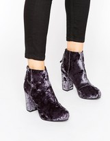Office Annie Grey Velvet Heeled Ankle Boots