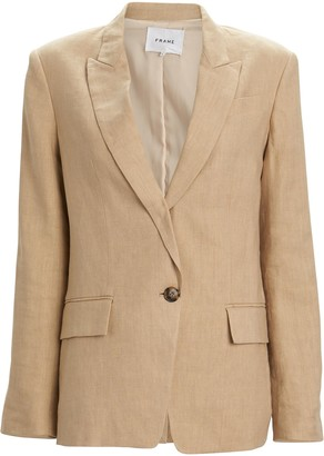 Frame Single-Breasted Canvas Blazer