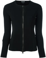 Tom Ford zipped cardigan - women - Lamb Skin/Polyester/Viscose - S